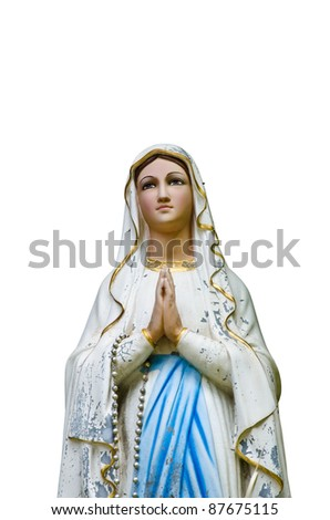 Virgin Mary on white background. - stock photo