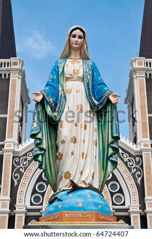 Virgin mary statue at Chantaburi province, Thailand. - stock photo