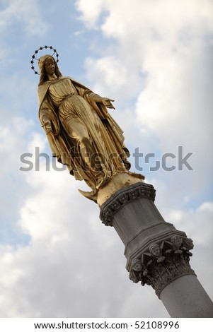 Virgin Mary statue in front of the Zagreb cathedral - stock photo