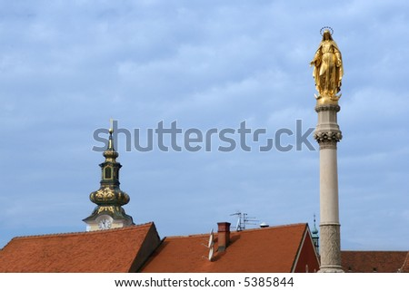 Virgin Mary statue in front of the Zagreb cathedral, Croatia - stock photo