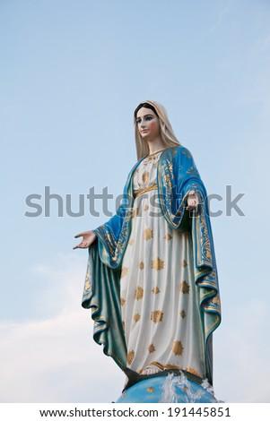 Virgin Mary Statue in Roman Catholic Church - stock photo