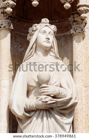 Virgin Mary stone statue