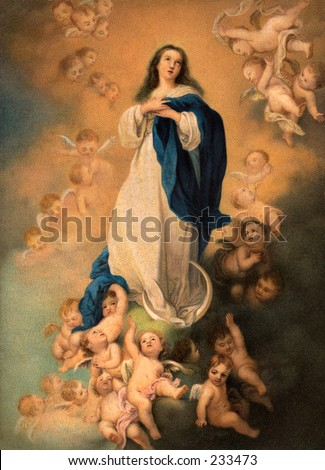 Virgin Mary, surrounded by angels - a 1900 chromolithograph of a vintage painting