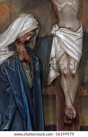 Virgin Mary under the Cross, 12th Stations of the Cross, Jesus dies on the cross - stock photo