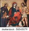 Virgin Mary with baby Jesus, Saint Roch and Saint Sebastian - stock photo