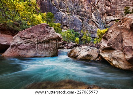 Virgin Narrows River in Zion National Park - stock photo