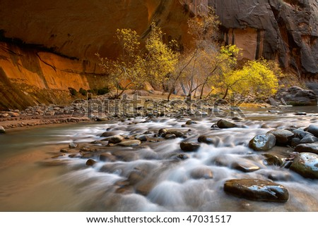 Virgin river falls, zion national park - stock photo
