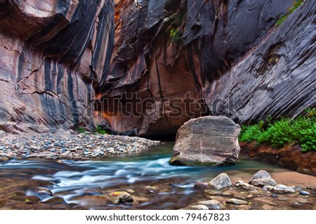 Virgin River Narrows - stock photo