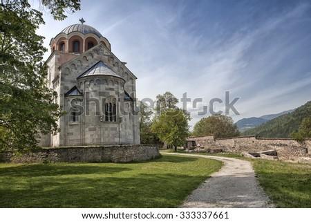 Virgin's church of Studenica monastery  in Serbia  - stock photo