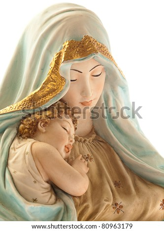 virgin with jesus on white background - stock photo