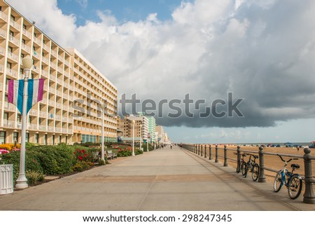 Virginia Beach Oceanfront Boardwalk on a cloudy day. - stock photo