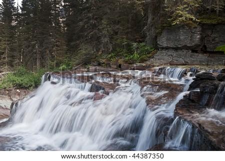 Virginia Falls River in East Glacier National Park, Montana - stock photo