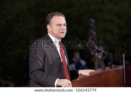 Virginia Governor Tim Kaines speaking at Barack Obama Presidential Rally, October 30, 2008 at Verizon Wireless Virginia Beach Amphitheater in Virginia Beach, VA - stock photo