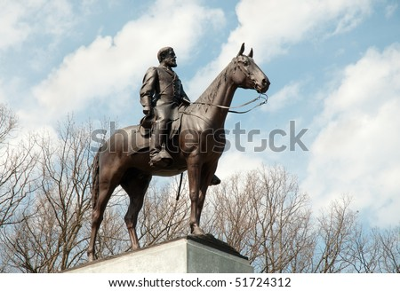 Virginia Monument and Robert E. Lee statue - stock photo