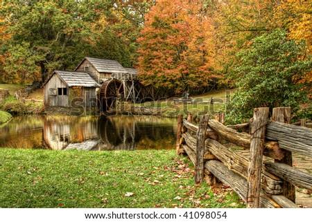Virginia's Mabry Mill on the Blue Ridge Parkway in the Autumn season - stock photo