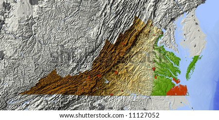 Virginia. Shaded relief map.  Shows major urban areas and water bodies, surrounding territory greyed out.  Colored according to relative elevation. Includes clipping path for the state area. - stock photo