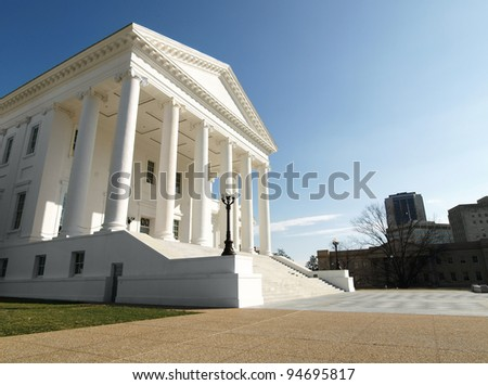 Virginia Statehouse Capitol Building in downtown Richmond. - stock photo
