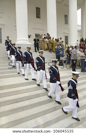 Virginia Tech Corps of Cadets marching down stairs of Virginia State Capitol in Richmond Virginia, as part of the 400th anniversary of the Jamestown Settlement, May 3, 2007 - stock photo