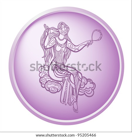 virgo, button with sign of the zodiac - stock photo