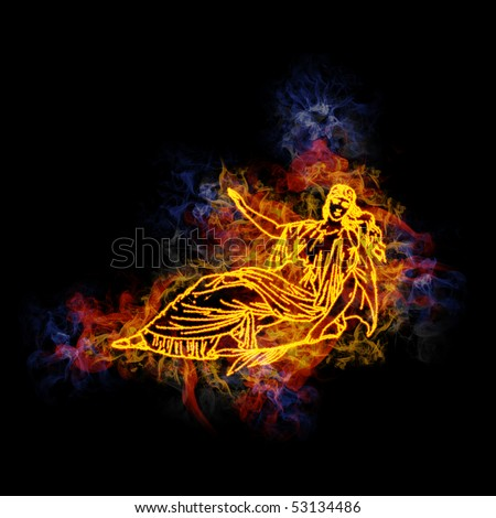 virgo zodiac sign, covered in flames. - stock photo