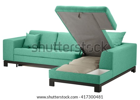 Viridian corner couch bed with storage isolated on white include clipping path - stock photo