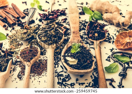 Virious kinds of tea in wooden spoons on white table - stock photo