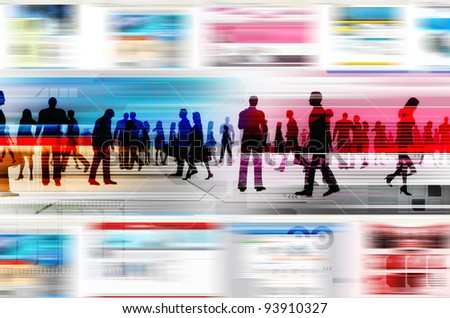 Virtual business concept. Virtual people doing business inside the virtual world of internet. Illustrated with flashing website, and hitech elements of design. - stock photo