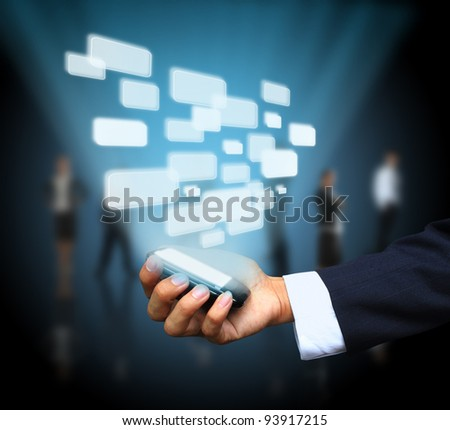 Virtual button on mobile phone - stock photo