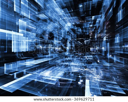 Virtual City series. Interplay of fractal forms in three dimensional space on the subject of virtual reality, science and modern technology - stock photo
