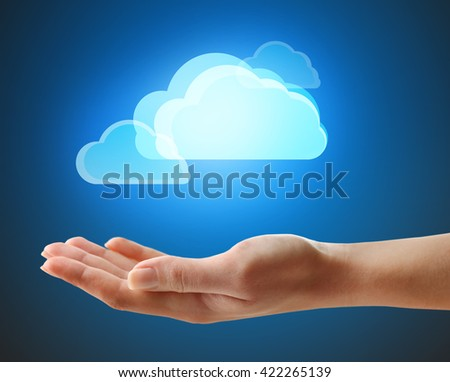 Virtual clouds on hand. Cloud storage concept with copy space
