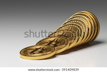 Virtual Coins Bitcoins. 3D Scene. - stock photo