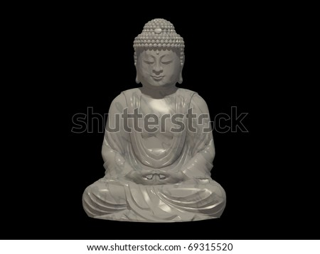 Virtual Deities Gautama Buddha 01 In Marble Black Background