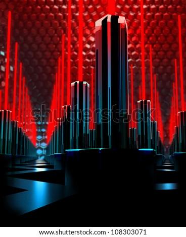 virtual digital city background - stock photo