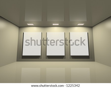 Virtual exposition - neutral reflective space. Three blank frames - stock photo