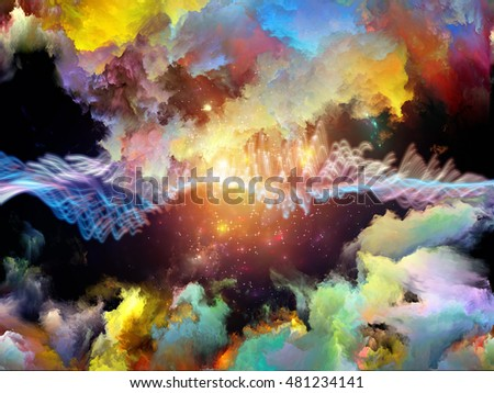 Virtual Fluctuation series. Abstract design made of color clouds and particle elements on the subject of science, technology and education