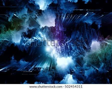 Virtual Fluctuation series. Background design of color clouds and particle elements on the subject of science, technology and education