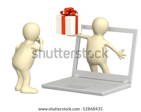 Virtual gift - stock photo