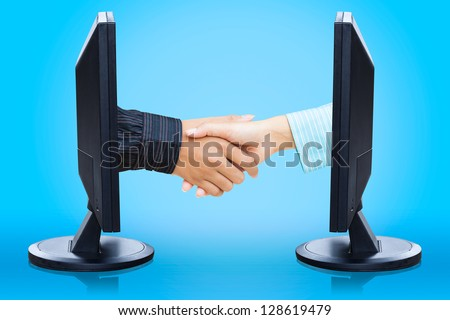 Virtual handshake,  e-business concept