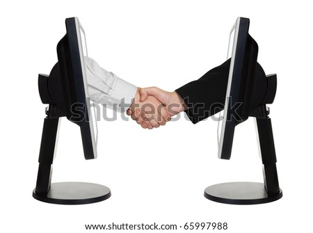 Virtual handshake - internet business concept isolated on white background