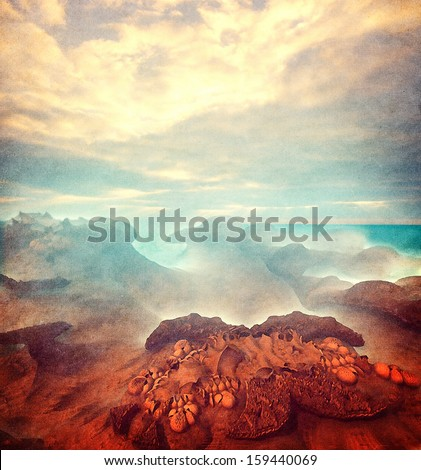 Virtual landscape - stock photo