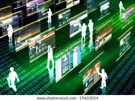 Virtual life illustrated with people doing activity in futuristic virtual world. - stock photo