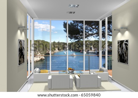 Virtual living room with a fantastic view to a small harbor - stock photo