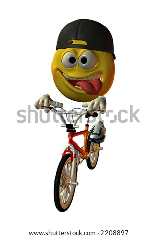 Virtual model emoticon riding a BMX bicycle with a reversed baseball cap and his tongue hanging out.