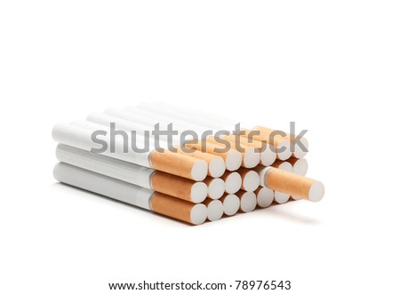 Virtual pack of cigarettes isolated on white  background - stock photo