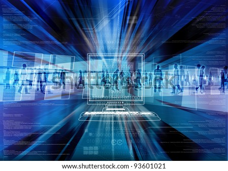 Virtual people doing activity inside the virtual world of internet - stock photo