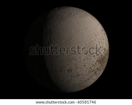 Virtual Planets Iapetus Moon 03 - stock photo