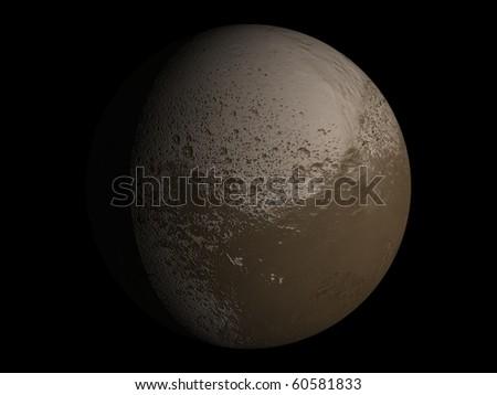 Virtual Planets Iapetus Moon 01 - stock photo
