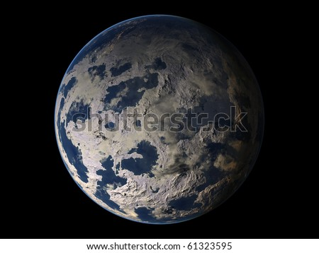 Virtual Planets Ice Earth-Like Planet 02 - stock photo
