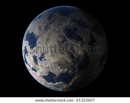 Virtual Planets Ice Earth-Like Planet 04 - stock photo