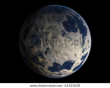 Virtual Planets Ice Earth-Like Planet 01 - stock photo